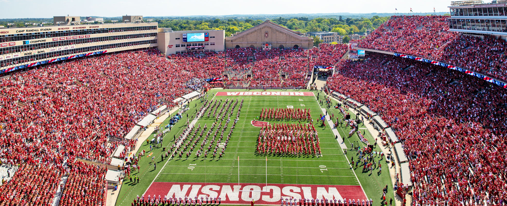 Camp Randall Stadium On a Game Day During the Day with the Marching Band on the Field