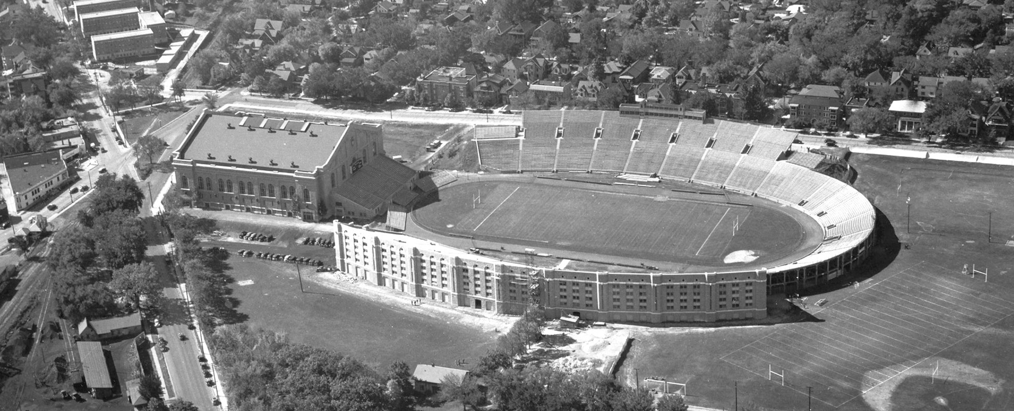 A Historic Ariel Photo Camp Randall Stadium With the Field House