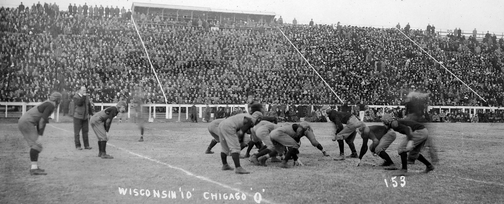 A Historic Photo of a game being played between Wisconsin and Chicago. Wisconsin Won 10 to 0.