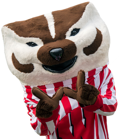 Bucky Badger - Mascot of Wisconsin Athletics - Making a 'W' With His Paws